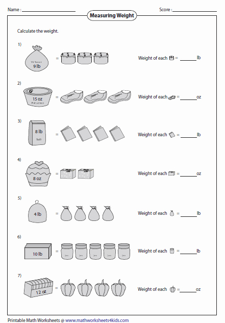 Mass and Weight Worksheet Awesome Download Free U S Customary Measurement Games Lawutorrent