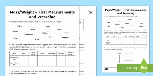 Mass and Weight Worksheet Awesome First Measurements In Weight Worksheet Activity Sheet