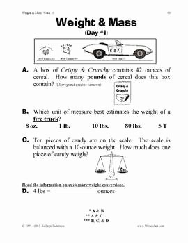 Mass and Weight Worksheet Awesome Teaching Weight and Mass Daily Math Practice Worksheets