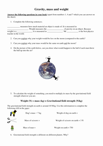 Mass and Weight Worksheet New Gravity Mass and Weight by Simoninpng Teaching