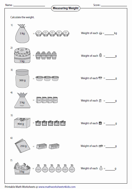 Mass and Weight Worksheet Unique Weight Of Single Item School Visuals