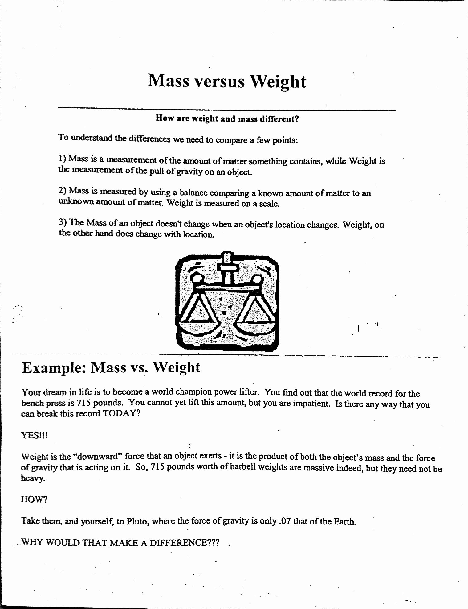 Mass and Weight Worksheet Unique Worksheet Massmass Problems Chemistry A Study Matter