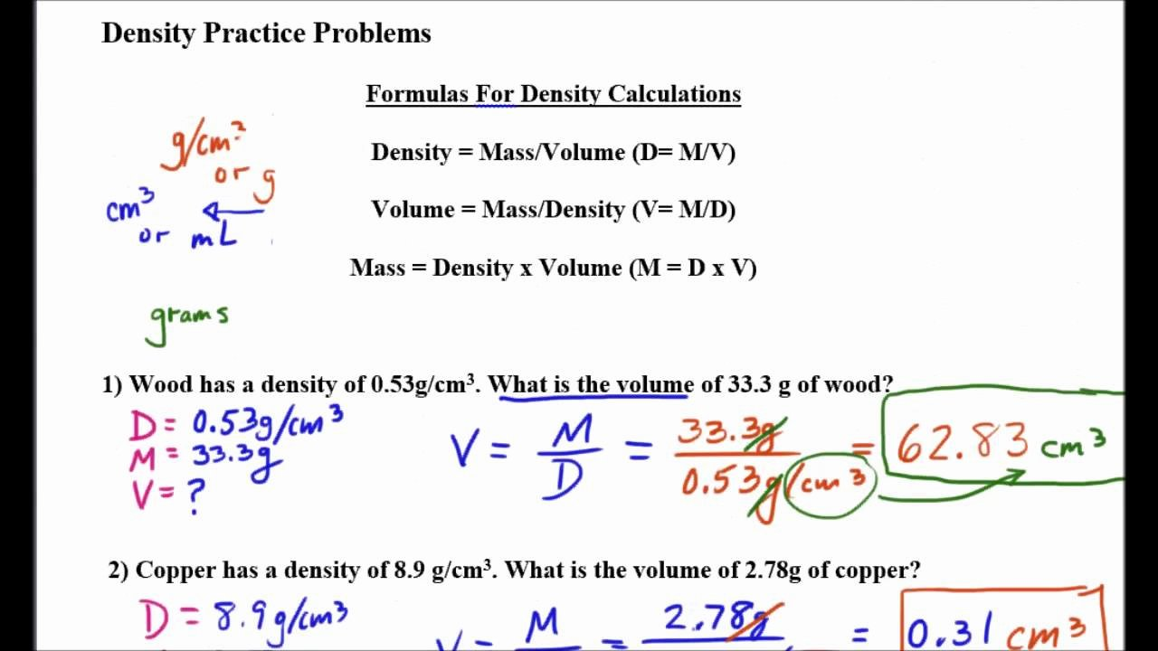 Mass Volume Density Worksheet Awesome Density Mass and Volume Problems Part 2