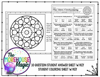 Mass Volume Density Worksheet Fresh Mass Volume & Density Color by Number Quiz by the