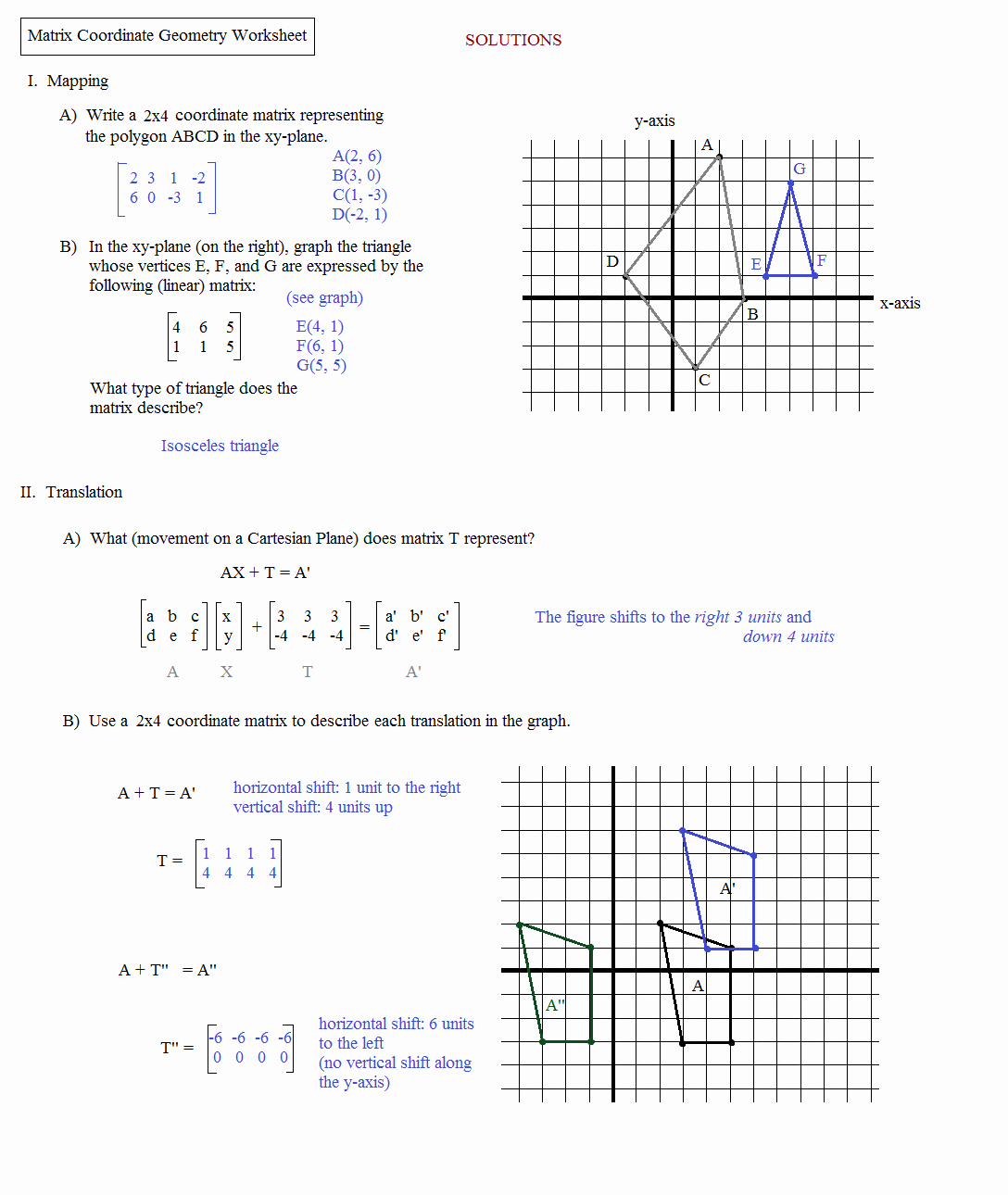 Matrices Word Problems Worksheet Awesome Math Plane Matrix Iii Coordinate Geometry