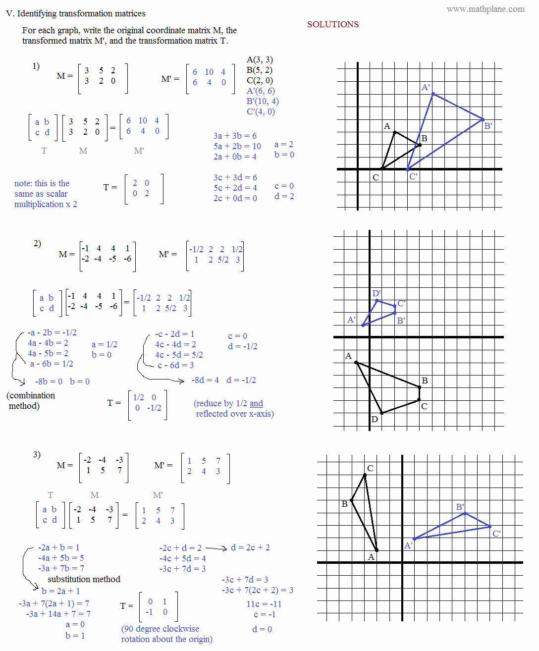Matrices Word Problems Worksheet Lovely Math Plane Matrix Iii Coordinate Geometry