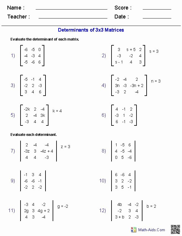 Matrices Word Problems Worksheet New Matrices Worksheets Algebra 2 Worksheets