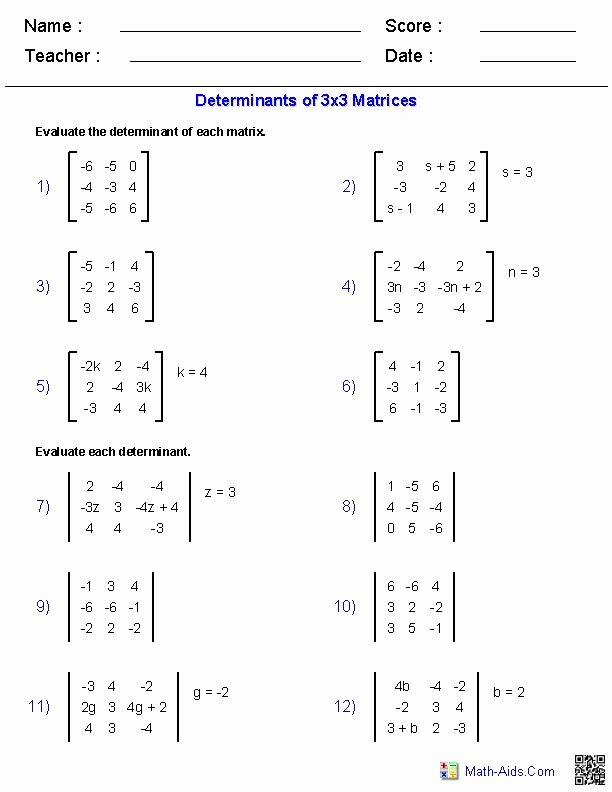Matrices Word Problems Worksheet New Matrices Worksheets Algebra 2 Worksheets
