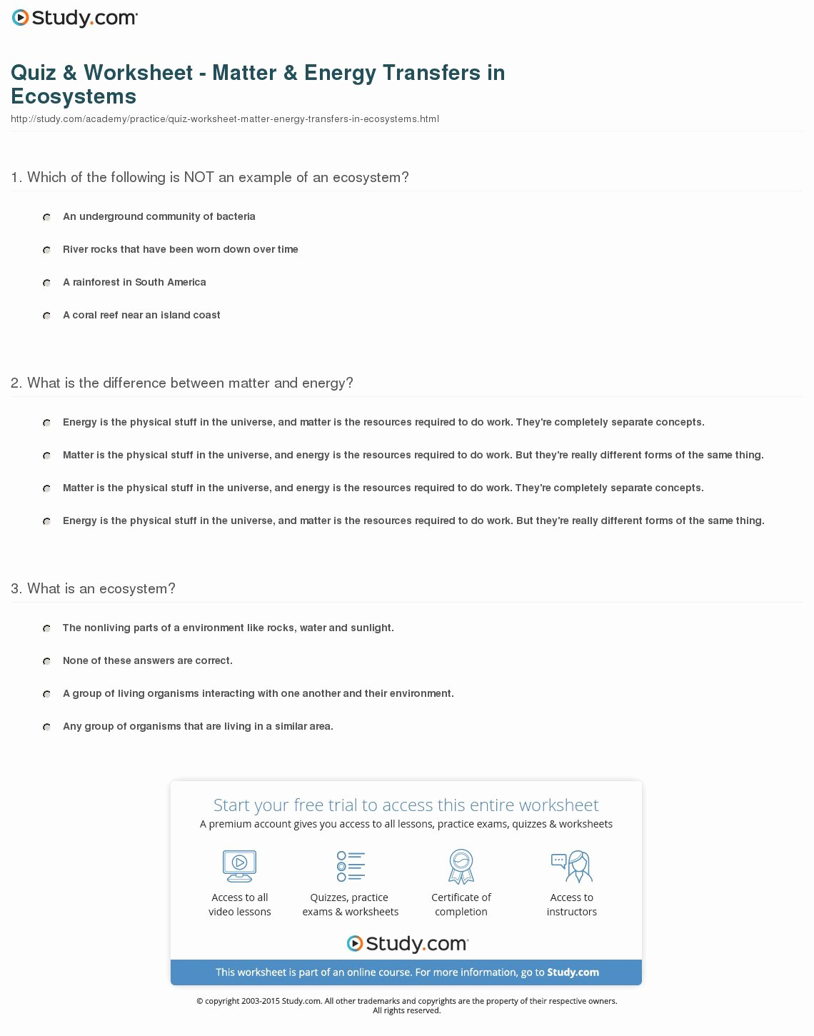 Matter and Energy Worksheet Awesome Quiz & Worksheet Matter & Energy Transfers In Ecosystems