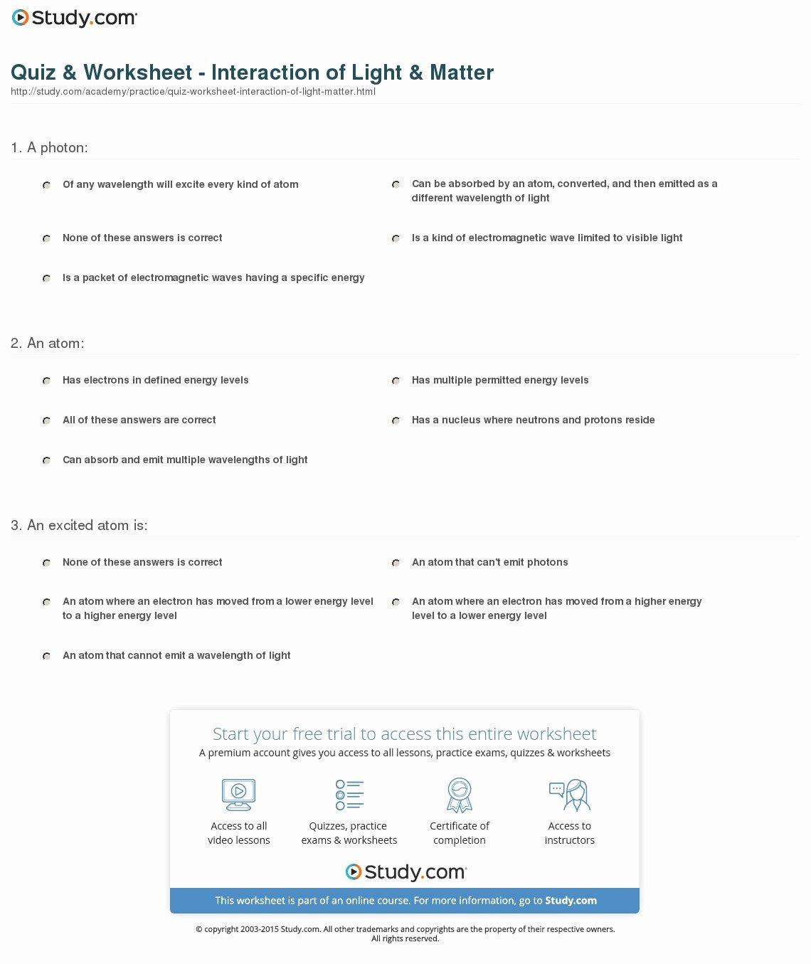 quiz worksheet interaction of light matter