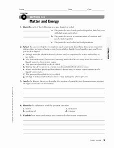 Matter and Energy Worksheet Fresh Matter and Energy Worksheet for 7th 10th Grade