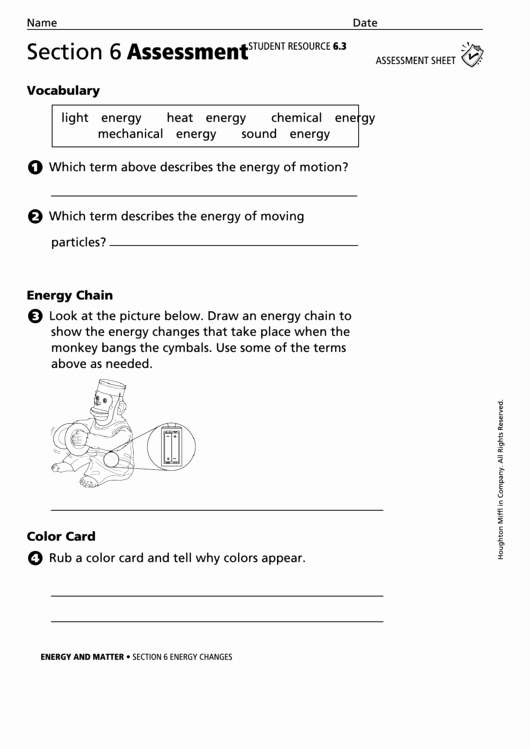 Matter and Energy Worksheet Inspirational Energy and Matter Section 6 assessment Energy Changes