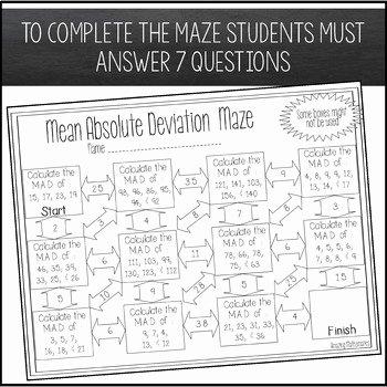 Mean Absolute Deviation Worksheet Elegant Mean Absolute Deviation Maze Worksheet by Amazing