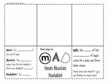 Mean Absolute Deviation Worksheet Fresh Mean Absolute Deviation Mad Foldable by Middle Math