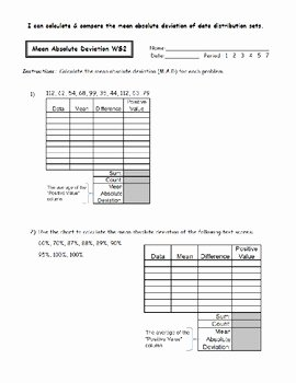 Mean Absolute Deviation Worksheet Luxury Mean Absolute Deviation Worksheets by Noelle anderson