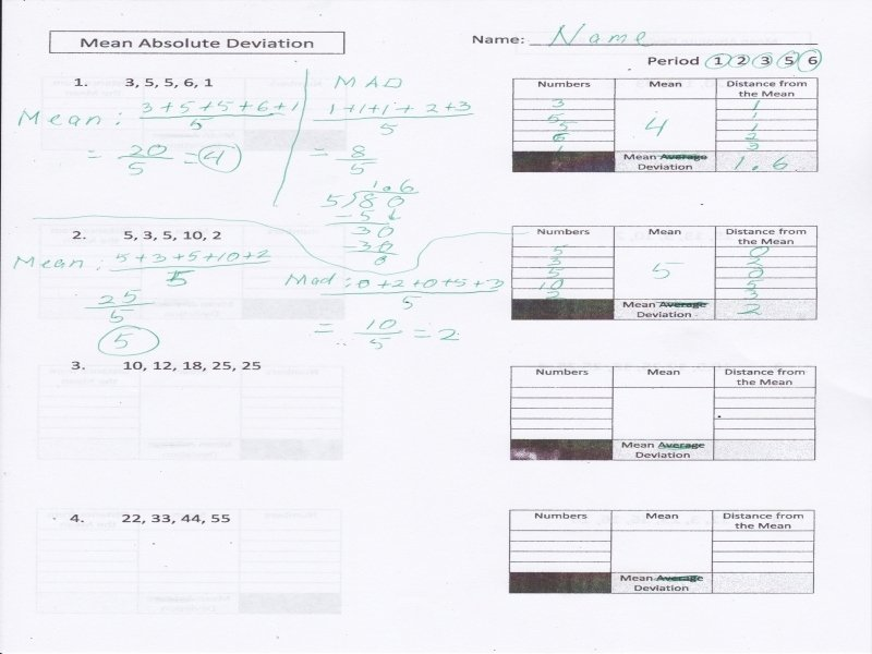 Mean Absolute Deviation Worksheet New Mean Absolute Deviation Worksheet Free Printable Worksheets