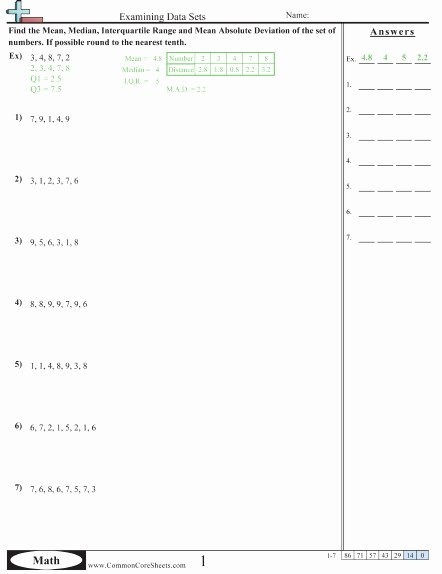 Mean Absolute Deviation Worksheet New Mean Absolute Deviation Worksheet