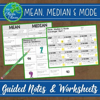 Measure Of Central Tendency Worksheet Beautiful Measures Of Central Tendency Guided Notes Worksheets