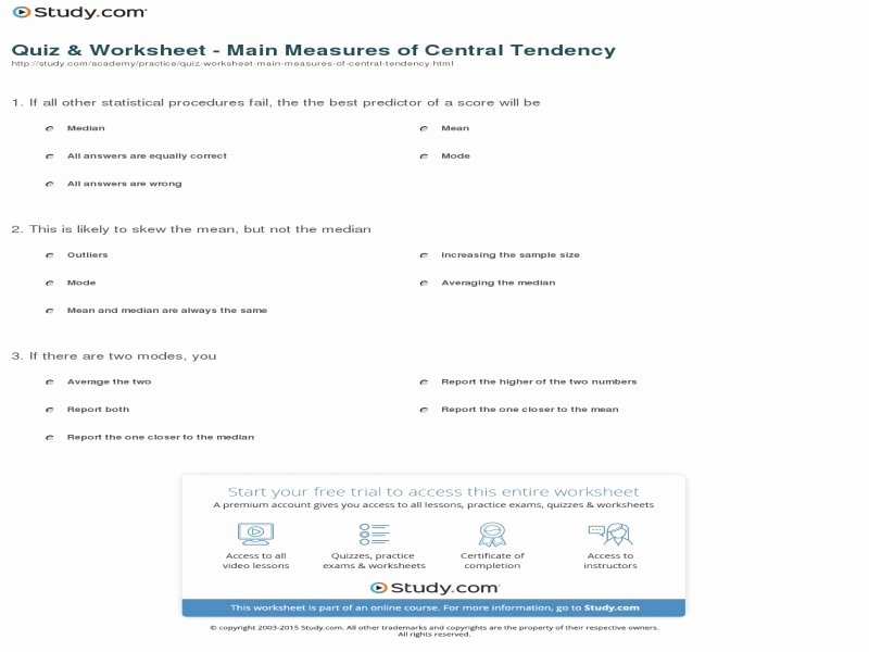 Measure Of Central Tendency Worksheet Lovely Measures Central Tendency Worksheet Answers Free