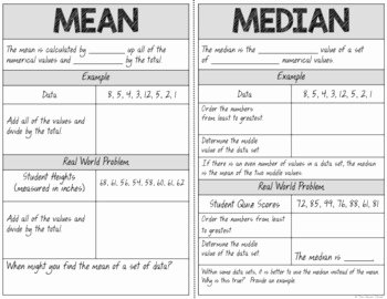Measure Of Central Tendency Worksheet New Measures Of Central Tendency Guided Notes Worksheets