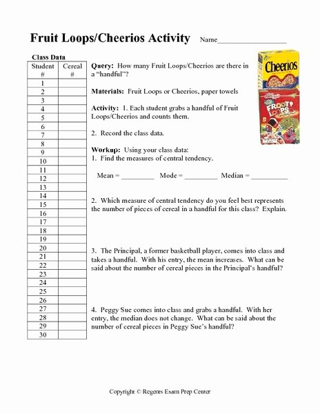 Measures Of Central Tendency Worksheet Beautiful Counting Fruit Loops Worksheets Reviewed by Teachers