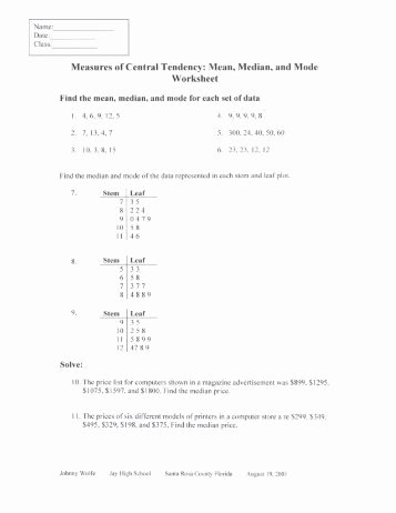 Measures Of Central Tendency Worksheet Elegant Sensitivity to Outliers I