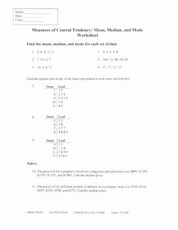 Measures Of Central Tendency Worksheet Inspirational Central Tendency Worksheet Ct1 Answers Pdf