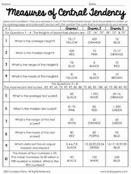 Measures Of Central Tendency Worksheet Lovely Measures Of Central Tendency Coloring Activity by Lindsay