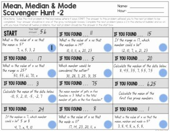 Measures Of Central Tendency Worksheet Unique Measures Of Central Tendency Guided Notes Worksheets