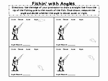 Measuring Angles Worksheet Pdf Awesome Fishin for Angles Drawing and Measuring Angles Worksheet