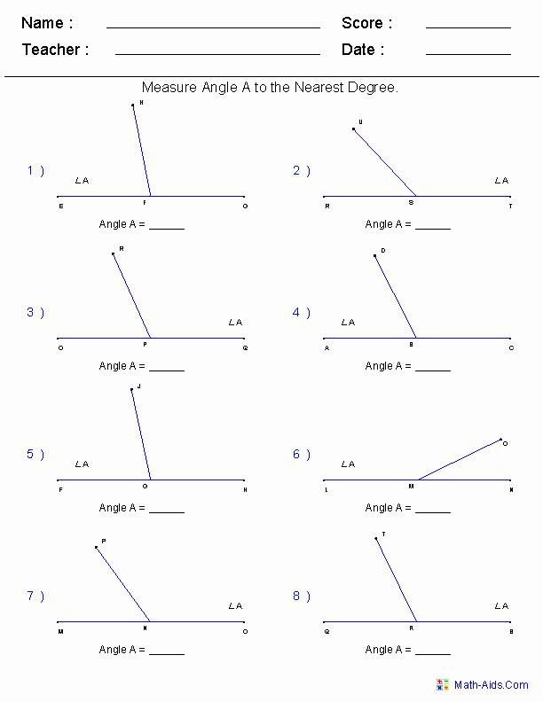 Measuring Angles Worksheet Pdf Luxury Geometry Worksheets