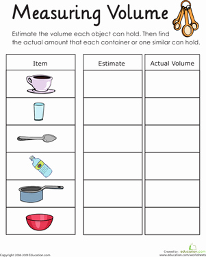 Measuring Liquid Volume Worksheet Inspirational Measuring Volume How Much Liquid Can It Hold