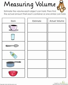 Measuring Liquid Volume Worksheet Lovely Capacity Worksheets for Kindergarten Worksheets