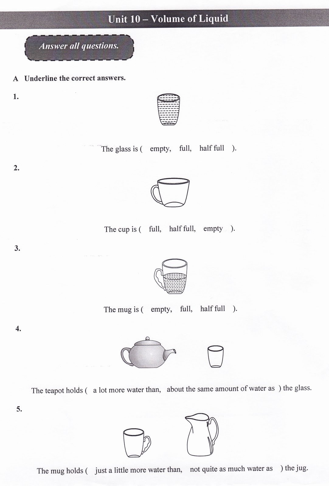 Measuring Liquid Volume Worksheet Luxury Mathematics Year 2 Volume Liquid