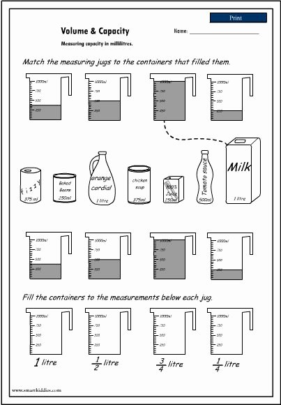 Measuring Liquid Volume Worksheet Luxury Volume and Capacity Worksheet Measurement