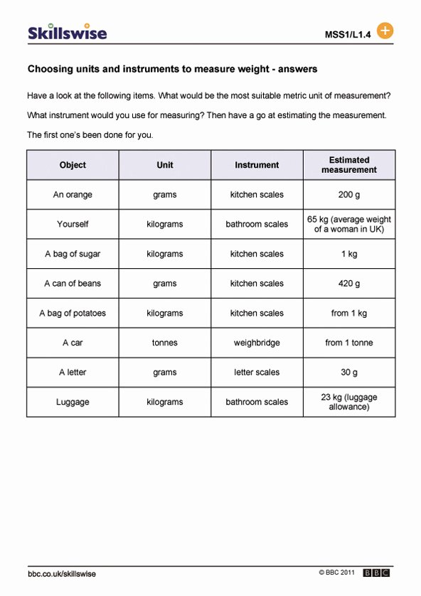 Measuring Units Worksheet Answer Key Best Of Choosing Units and Instruments to Measure Weight
