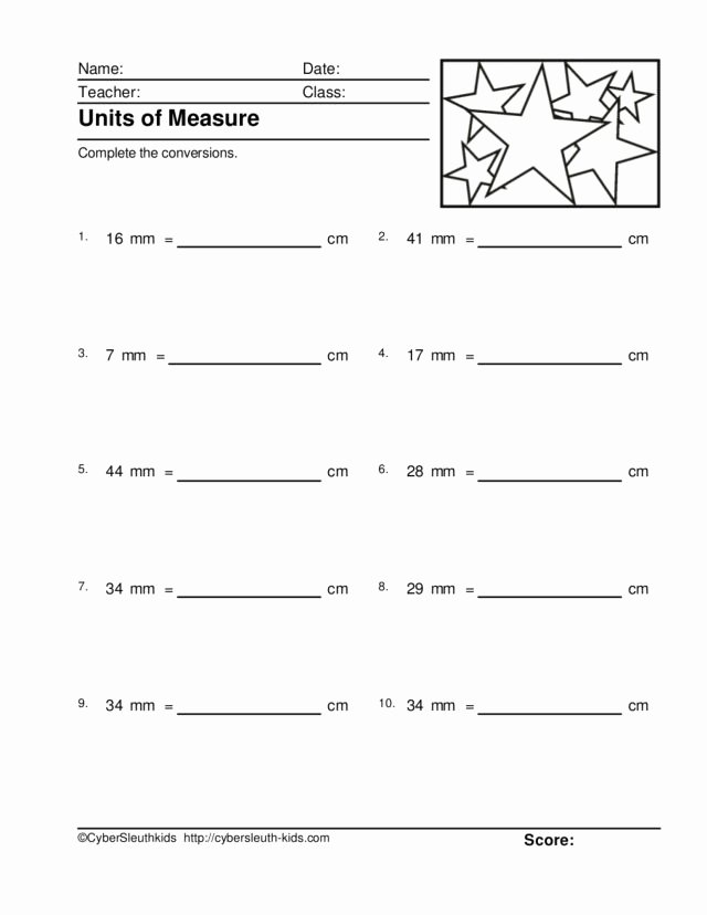 Measuring Units Worksheet Answer Key Luxury Units Of Measure Millimeters and Centimeters 5 Worksheet