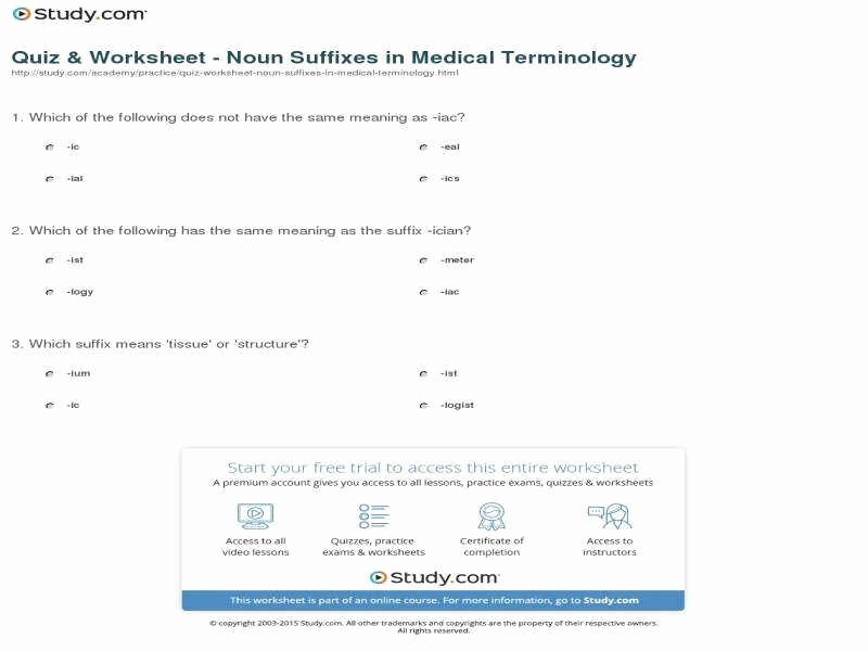 Medical Terminology Suffixes Worksheet Lovely Medical Terminology Worksheet