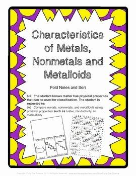 Metals Nonmetals and Metalloids Worksheet Beautiful Characteristics Of Metals Metalloids and Nonmetals sort