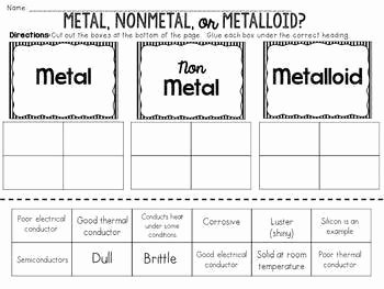 Metals Nonmetals and Metalloids Cut and Paste Sorting Activity