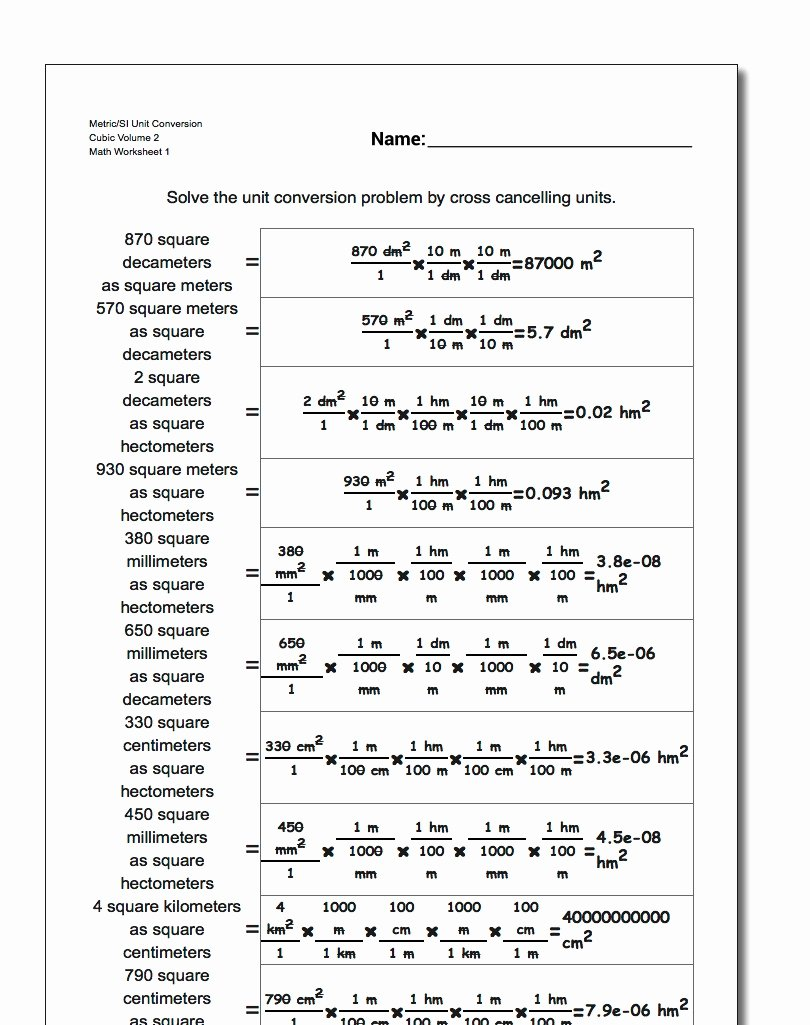 Metric Conversion Worksheet 1 New Cubic Centimeters to Liters