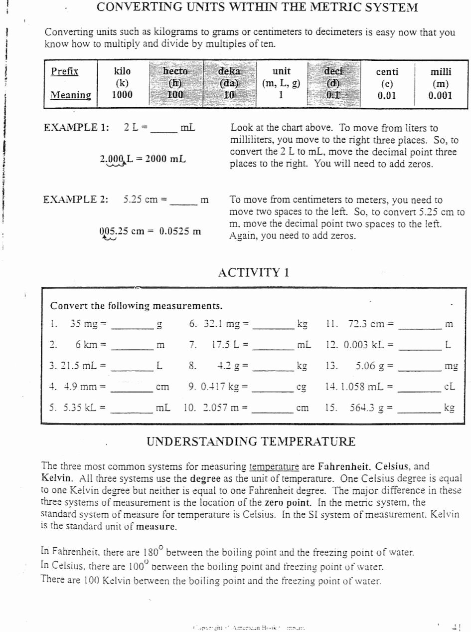 Metric Conversion Worksheet 1 New Metric Conversion Worksheet E Answer Key