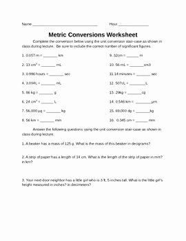 Metric Conversion Worksheet Answer Key Luxury Metric Conversion Worksheet by Leah S Chemistry Corner