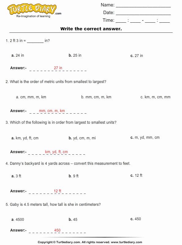 Metric Conversion Worksheet Answer Key Unique Conversion Of Metric Units Of Length Worksheet Turtle Diary