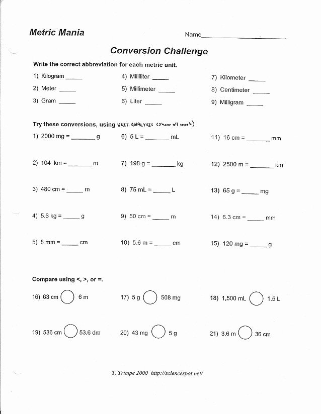 Metric Conversion Worksheet Chemistry Fresh Metric Mania and Metric Conversion Worksheet