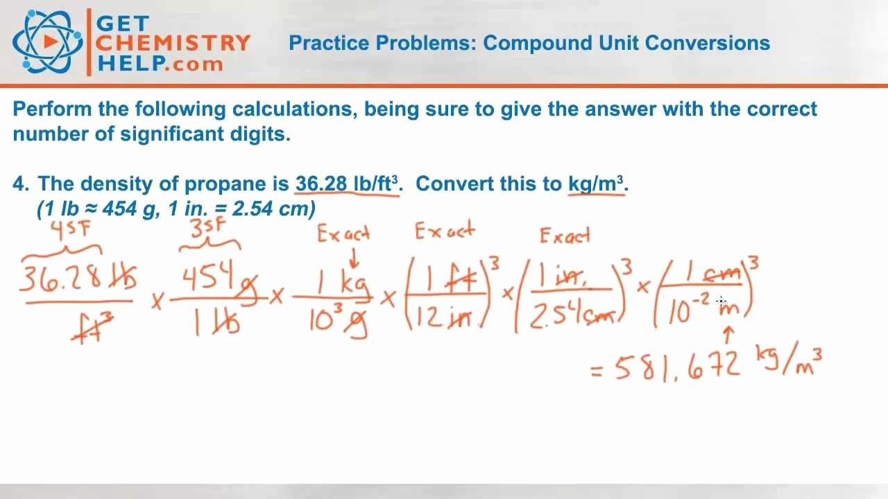 Metric Conversion Worksheet Chemistry Unique Chemistry Practice Problems Pound Unit Conversions