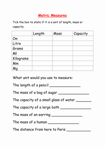 Metric Conversion Worksheet Pdf Beautiful Worksheet Converting Metric Measures by Mcamaths