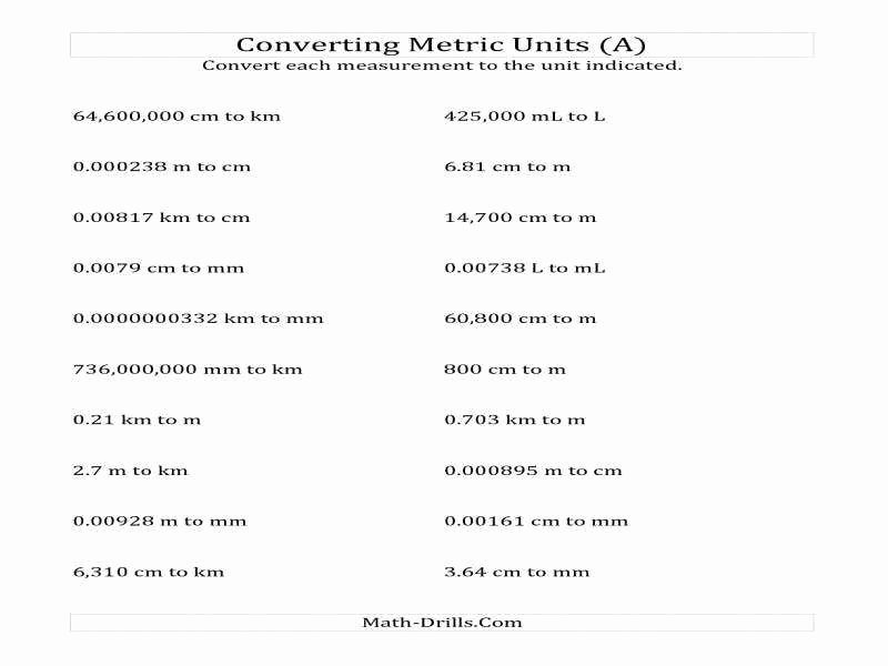Metric Conversion Worksheet Pdf Fresh Unit Conversion Worksheet Answers