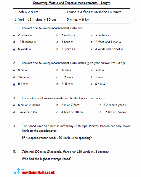 Metric Conversion Worksheet Pdf Unique Metric and Imperial Conversions Doingmaths Free Maths