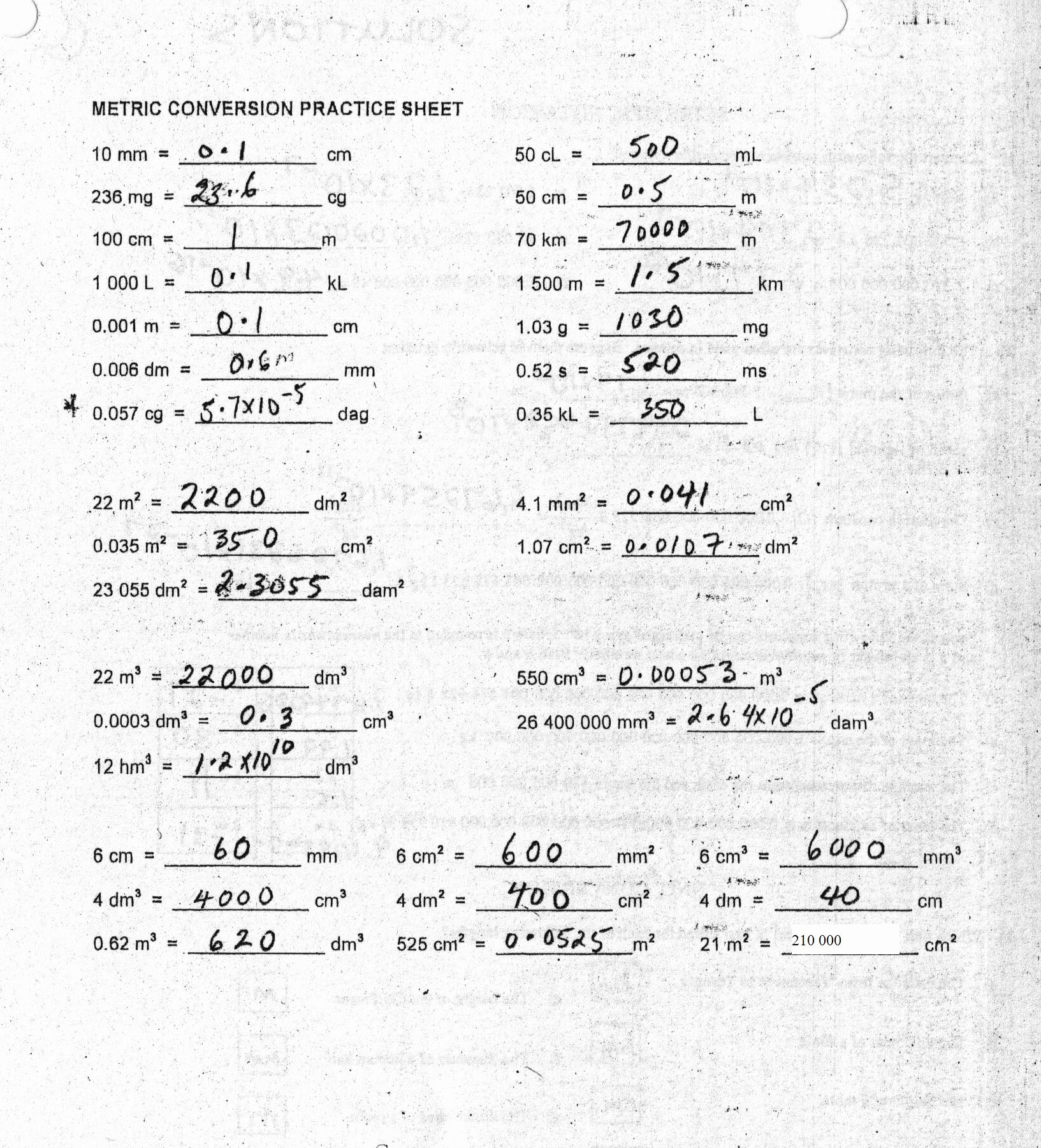 Metric Conversion Worksheet with Answers Lovely 10 Best Of Metric Conversion Worksheet Pdf King